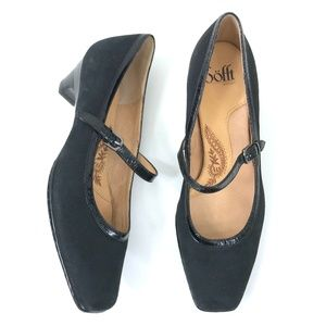 Sofft Black Suede Mary Jane Patent Trim 8